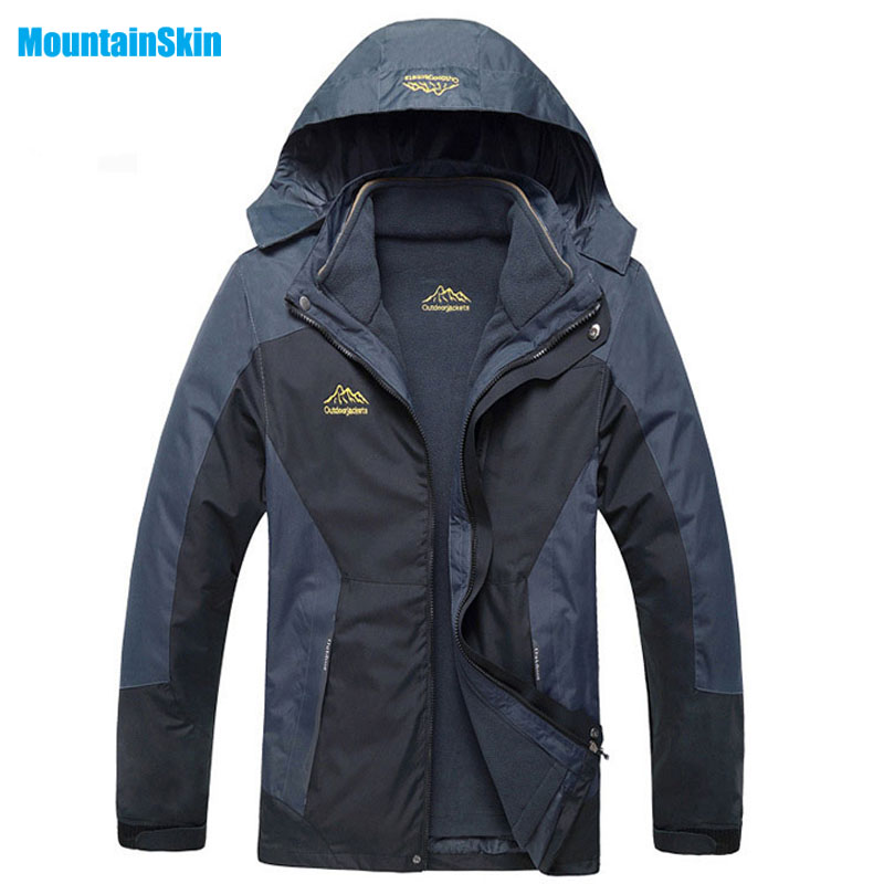 6XL 2017 Men's 2 Pieces Winter Inner Fleece Jacket Outdoor Sport Mountianskin Warm Coat Hiking Skiing Camping Male Jackets MA060 yin qi shi man winter outdoor shoes hiking camping trip high top hiking boots cow leather durable female plush warm outdoor boot