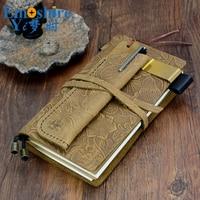 Freies Verschiffen Handgefertigte Vintage Leder Tagebuch Notebook Sketch Travel Journal Blank Schreiben Papier Tragbare Notizblock N114
