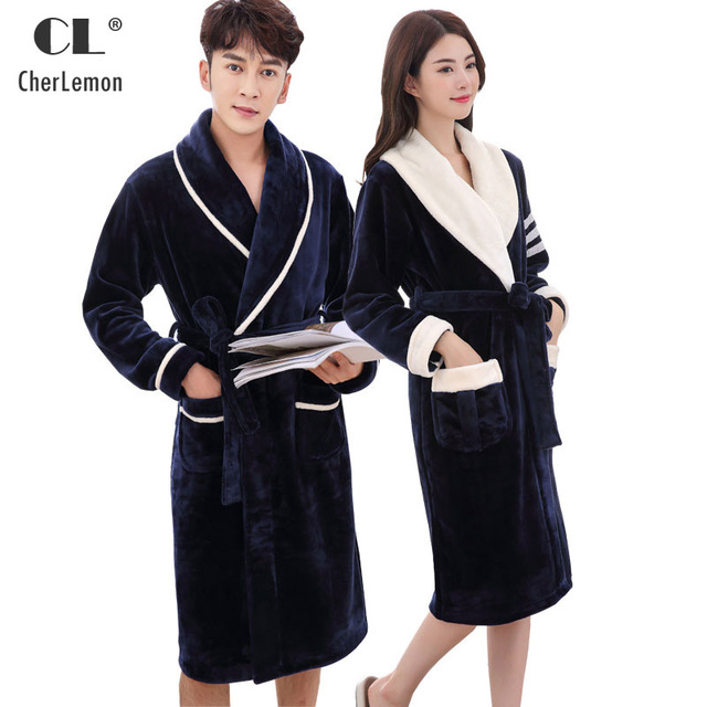 bcf32ad170 CherLemon Couples Soft Flannel Fleece White Navy Bathrobe Leisure Shawl  Collar Women Mens Warm Long