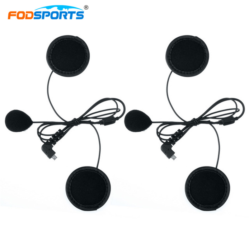 2 Pcs Fodsports BT-S2 BT-S3 Soft Tube Microphone Headphone Earphone Earpiece For Motorcycle Bluetooth Helmet Headset Intercom