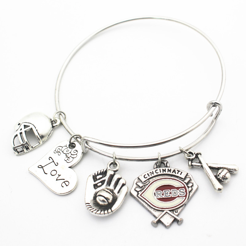 Newest 6pcs/lot Cincinnati Reds baseball Alloy Charm I love Baseball Replaceable Elastic Bangles&Bracelet Jewelry