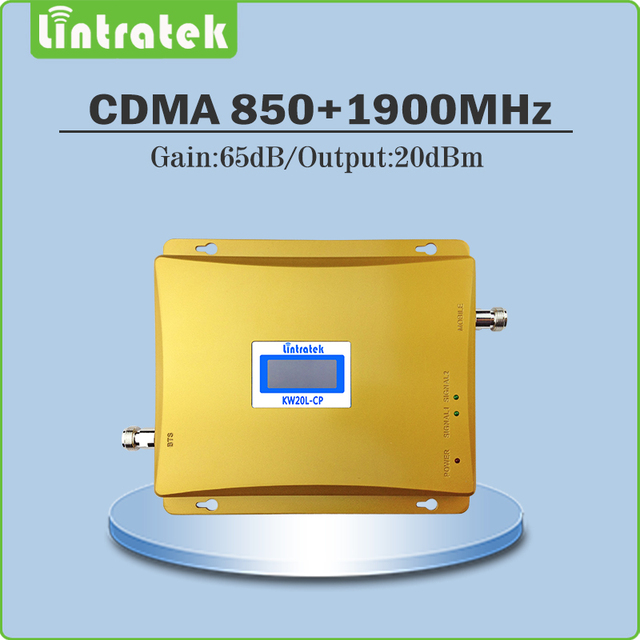 Lintratek Gain 65dB signal amplifier 850Mhz 1900Mhz Dual band signal booster CDMA PCS signal repeater  with LCD Display