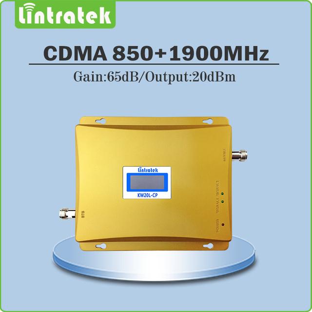 Lintratek ganancia 65db amplificador de señal 850 mhz 1900 mhz señal de doble banda cdma pcs repetidor de señal con la exhibición del lcd