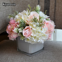 Kyunovia Artificial Flowers Hydrangea Rose Vase With Flower Bouquet Set for Desk Office Home Wedding Flowers Decoration KY64