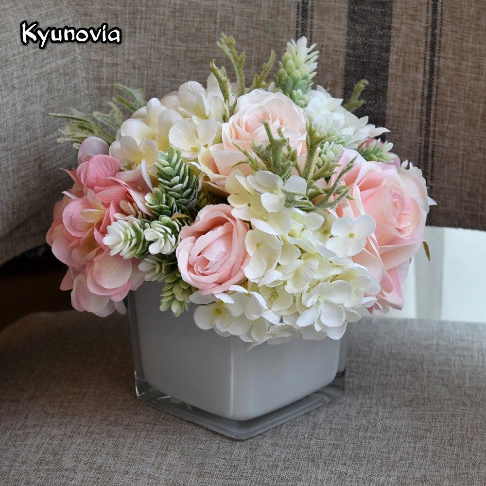 Kyunovia fleurs artificielles hortensia Rose Vase avec Bouquet de fleurs ensemble pour bureau bureau maison mariage fleurs décoration KY64