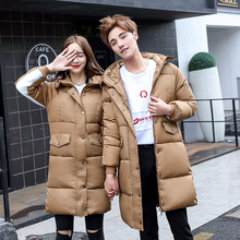 Thickening Winter Coat For Lovers Hooded Long Women Men Parkas Cotton Padded Letter Printed Warm Loose Jacket Outwear Coat FY07