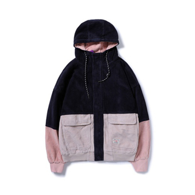 Color Block Patchwork Corduroy Hooded Fashion Jackets Men Hip Hop Hoodies top comfortable Coats Male Casual Streetwear Outerwear