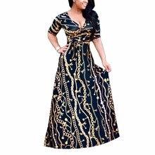 2017 New Arrival Women Maxi Dresses V-Neck half Sleeve Womens Fashion Iron chain print Long Party Dress D1150
