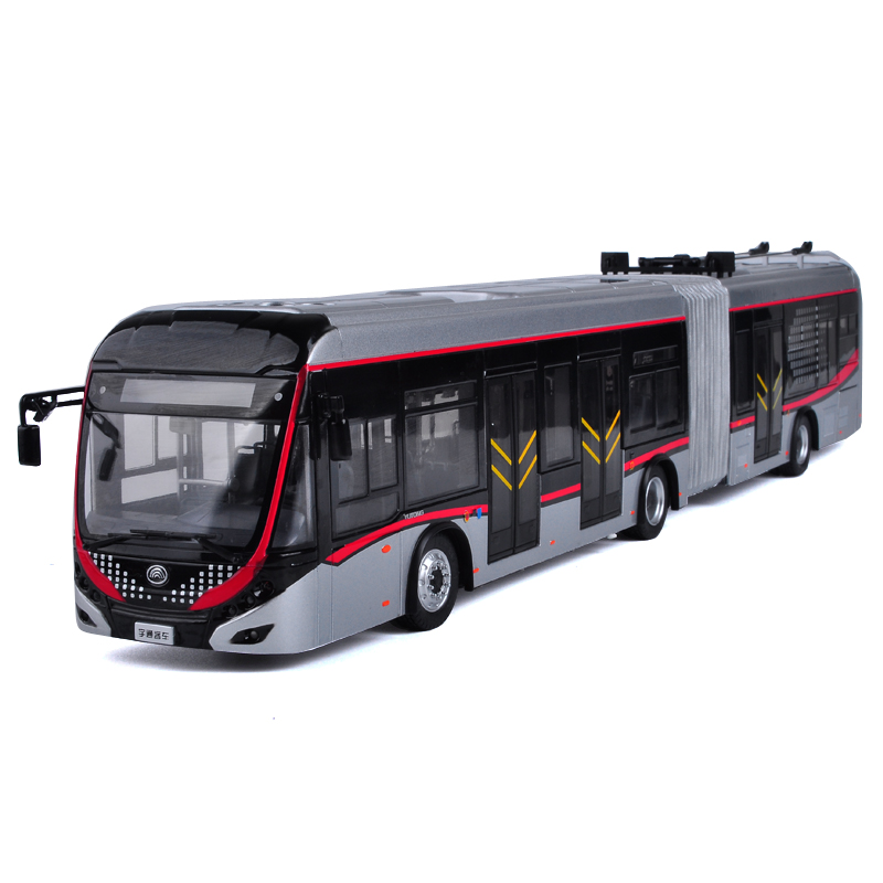 Collectible Alloy Model Gift 1:42 Yutong Dual-source Trackless Trolleybus Transit Volume BRT Bus DieCast Toy Decoration