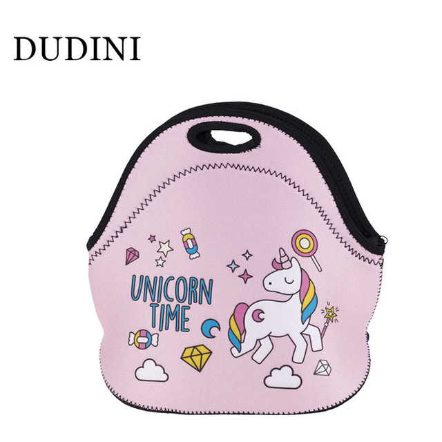 DUDINI Lovely Animal Pattern Lunch Bag Fashion New Style Leisure Picnic Bag Portable Hand-Held Insulation Carry Lunch Bags Women