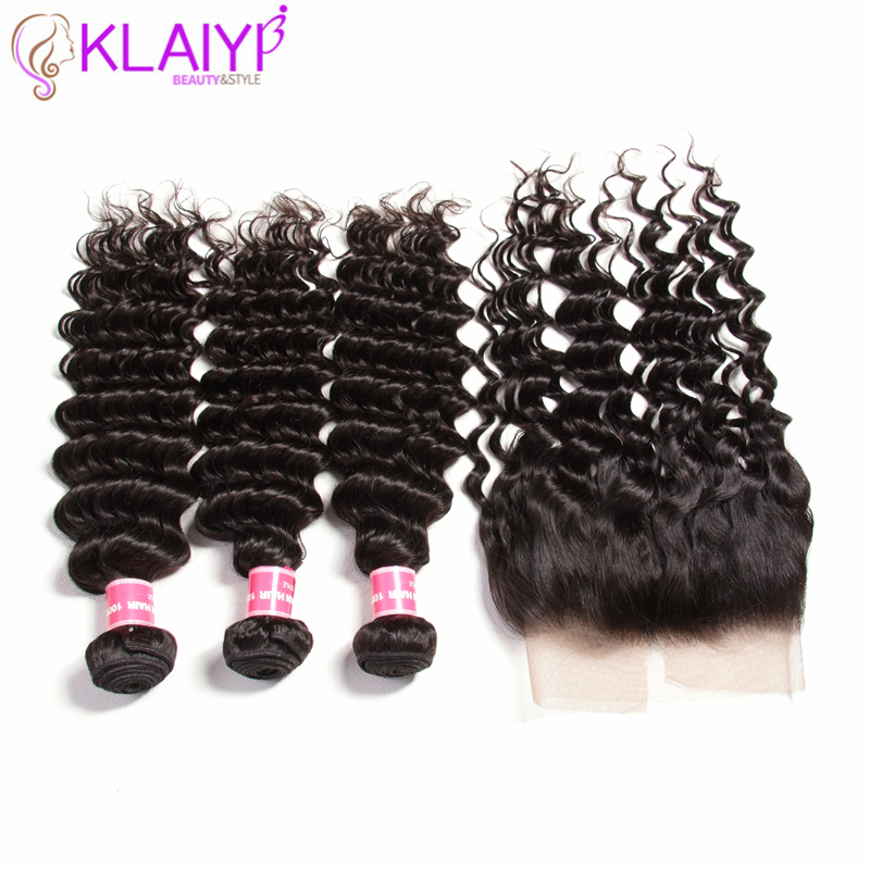 Klaiyi Brazilian Hair Frontal Closure With Bundles 13X4 Free Part Ear To Ear 120% Density Remy Human Hair Lace Frontal 12-26