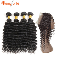 Remy Forte Hair Natural Black Brazilian Deep Wave With 360 Closure 130 % Density Non Remy Human Hair 4 Bundles With Lace Frontal