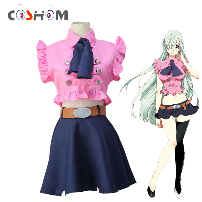 Coshome Nanatsu No Taizai The Seven Deadly Sins Elizabeth Liones Cosplay Dress Costumes Women Uniforms Tops Skirts Ties Belts