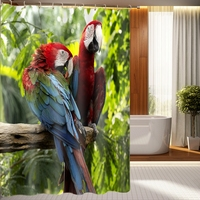 New 3D Shower Curtains Tree Branches Parrot Pattern Waterproof Fabric Bathroom Curtains Washable Bathroom Products 12
