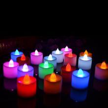 Полипропиленовый светодиодный светильник в форме свечи 6 цветов без пламени для свадебной вечеринки