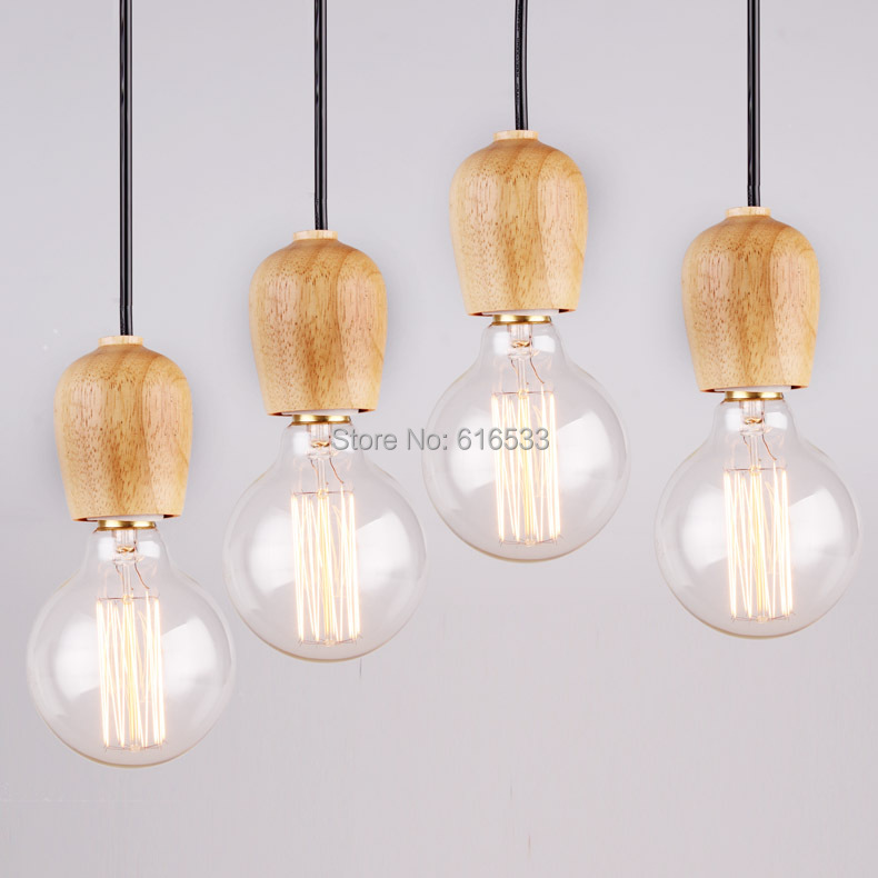 Lustres fashion bar brief restaurant japanese style vintage american single head wood pendant light 1pc
