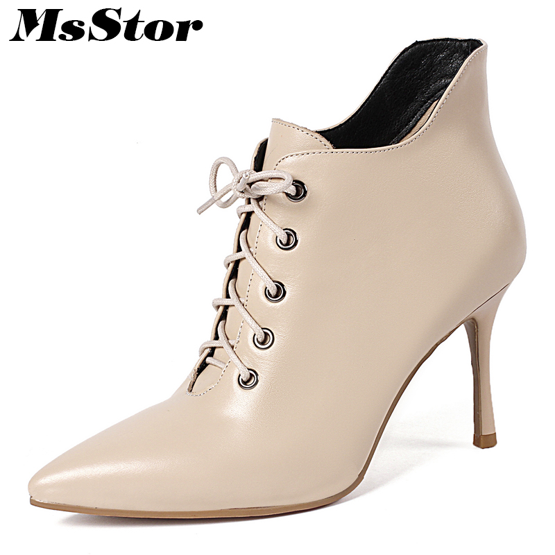 Msstor Women Boots Pointed Toe Lace Up Ankle Boots Women Shoes Elegant High Heel Thin Heels Genuine Leather Boot Shoes For Girl цена