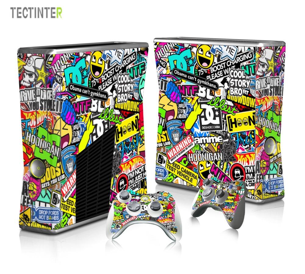 BOMB Bombing Graffiti Protector Vinyl Sticker til Xbox 360 Slim Console med 2 Controller Skins Cover til Xbox360