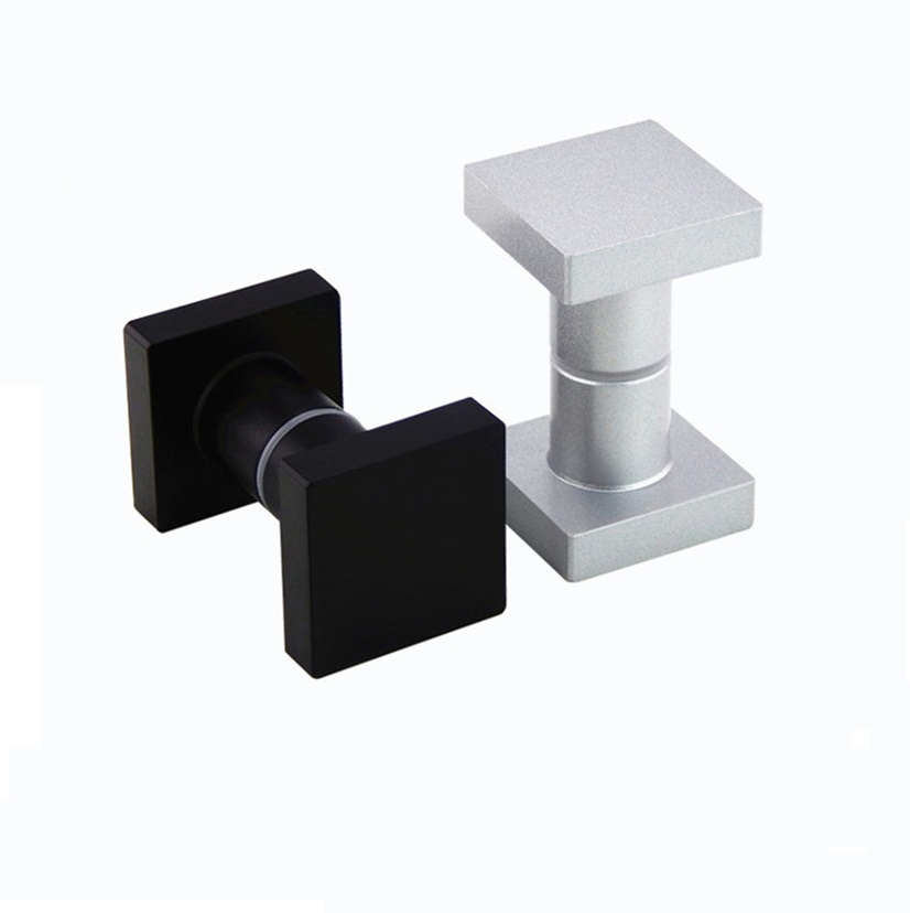 Square Solid Aluminum Glass Door Knob Pull Handle Shower Box Entry Gate