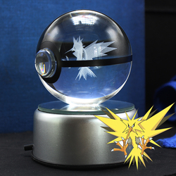 Zapdos Design Crystal Pokeball Poke Ball 3D LED Base Paperweight Room Decorations