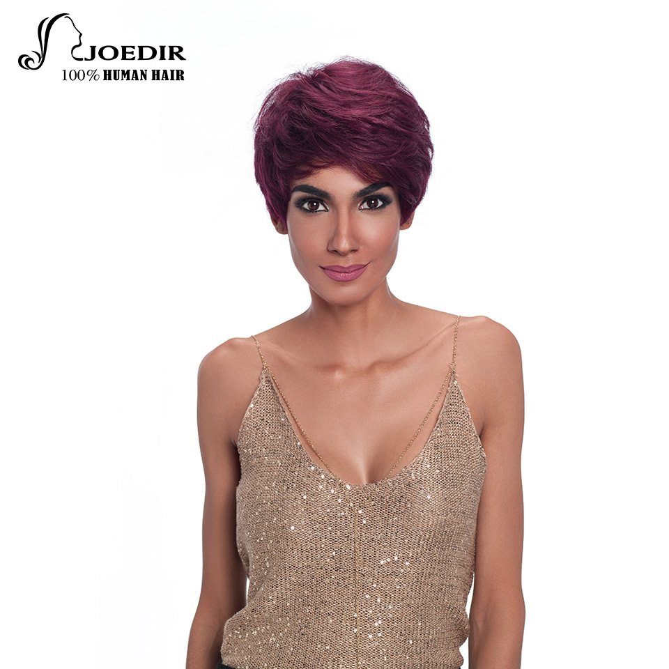 Joedir Wigs Short Human Hair Wigs Brazilian Remy 100% Human Hair Pixie Cut Wigs For Women Machine Made Free Shipping