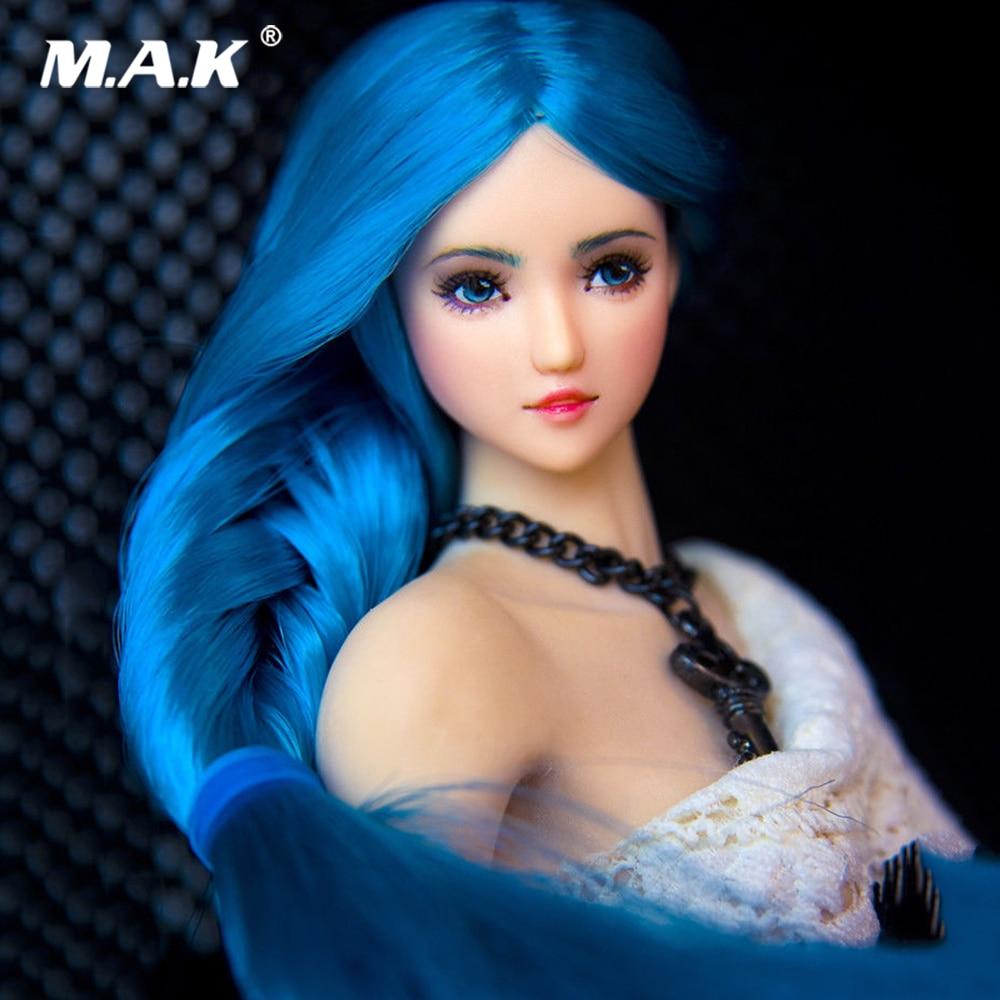 купить 1/6 Scale Girl Pale Skin Blue Braid Hair Female Head Sculpt Accessory Model for 12'' Pale Action Figure Body по цене 8131.82 рублей