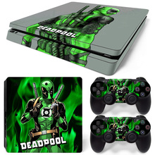 Deadpool Vinyl Skin Sticker For PlayStation 4 Slim PS4 Slim Console+2Pcs Stickers Controller Cover Decals Protector