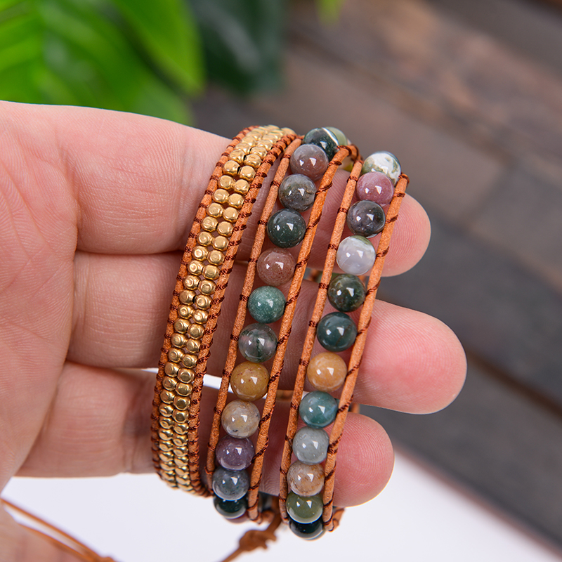 Leather Bloodstone Mala Beads 3