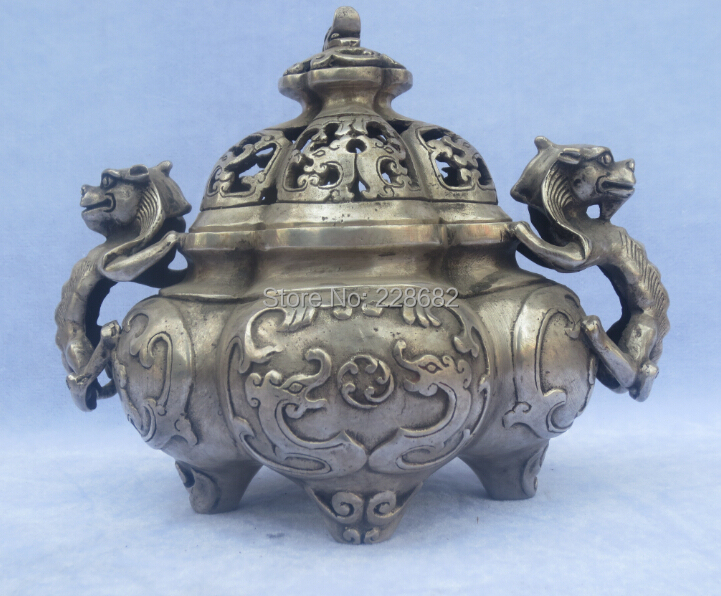Collectible Old Handwork Tibet Silver Carved Tower Dragon Incense Burner
