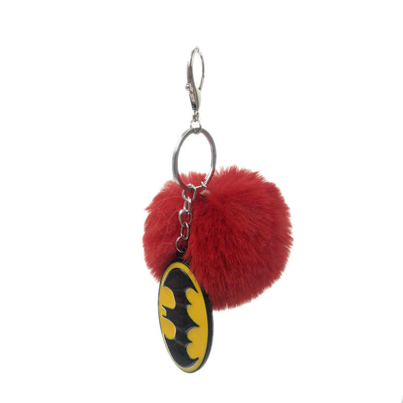Moda Batman Borracha Macia da Pele Do Falso Bola de Metal Saco Chaveiro Acessórios Peças Leves Organizadores Ornamento Mulheres Saco do Anel Chave