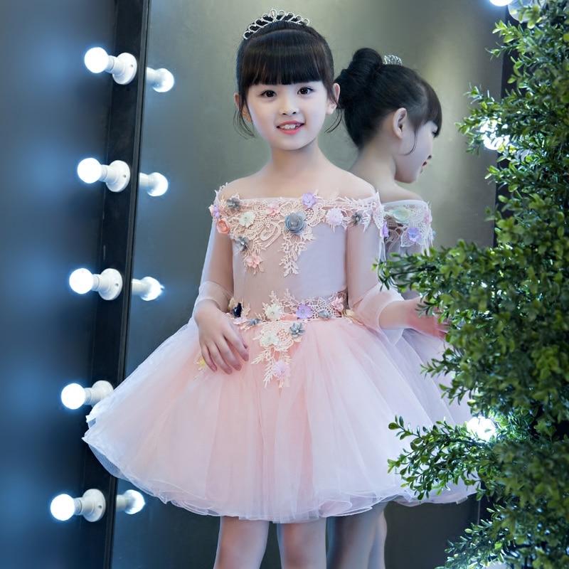 2017 New Korean Sweet Elegant Children Girls Embroidey Flowers Princess Party Dress Kids Half-Sleeves Birthday Pageant Dresses green crew neck roll half sleeves mini dress