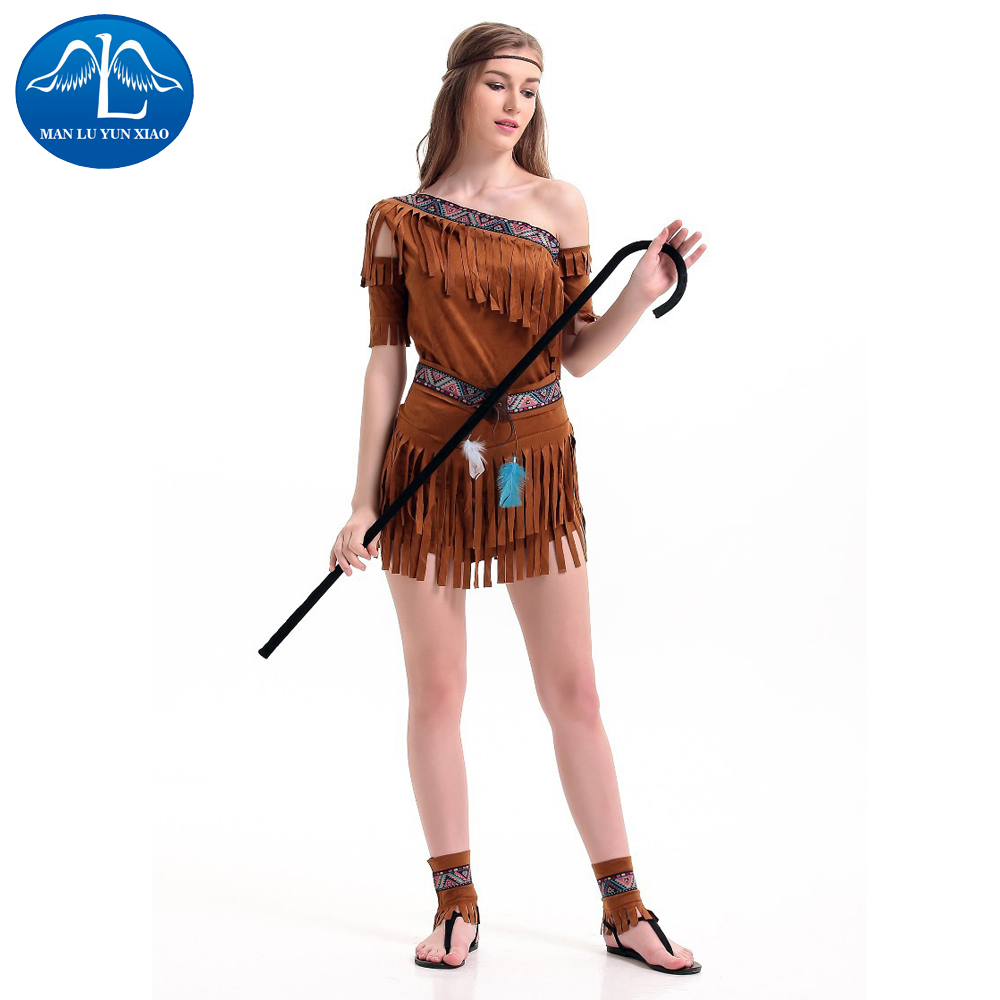 MANLUYUNXIAO Tassel Dress Halloween Costume For Girls Role Play Cosplay Performance Dance Show Halloween Costumes For Woman