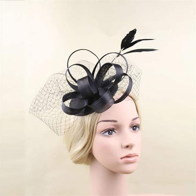 Black Feather Fascinator Hat Veil Hair Clip Bridal Headpiece Wedding Hats  And Fascinators Ladies Chapeu Cabelo Hair Accessories 0a7f15f9ef74