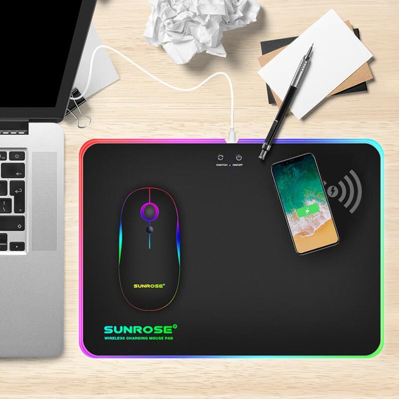 SUNROSE jeu tapis de souris RGB lumière tapis de souris Phantom couleur dur ceinture sans fil fonction de charge tapis de souris ceinture lueur