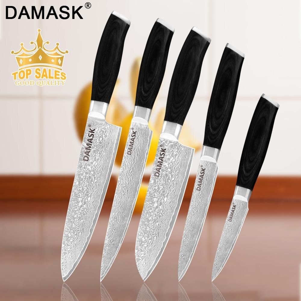 Ensemble de couteaux de cuisine en acier damas Chef japonais damassé service de Paring Santoku couteaux de Chef tranchants 6 pièces ensemble couleur manche en bois
