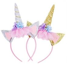7d6f29bad Unicornio favores de partido de unicornio diadema Babyshower feliz  decoraciones de fiesta de cumpleaños de los niños del bebé re.