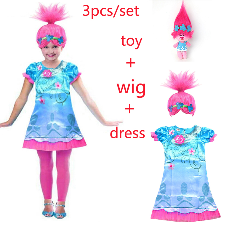 2018 New Carnival Costume Trolls Dress Wig toy For Kids Poppy Lace Dress Baby Girls Moana clothes Children Vaiana Party Vestido