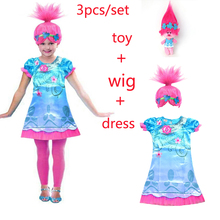 купить 2018 New Carnival Costume Trolls Dress Wig toy For Kids Poppy Lace Dress Baby Girls Moana clothes Children Vaiana Party Vestido по цене 390.14 рублей