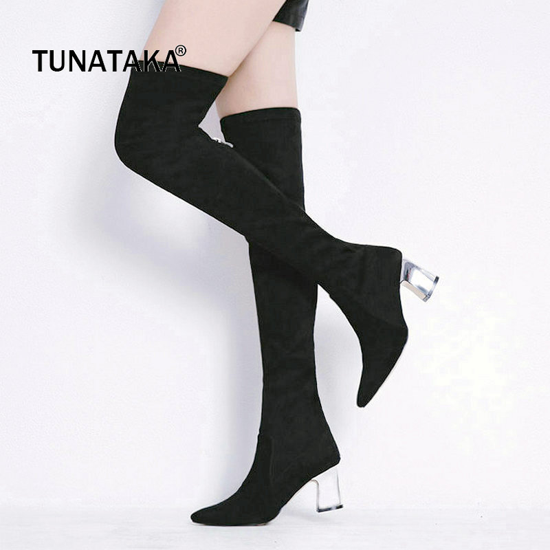 Suede Comfort Square High Heel Zipper Woman Over The Knee Stretch Boots Fashion Pointed Toe Party Thigh Boots Black