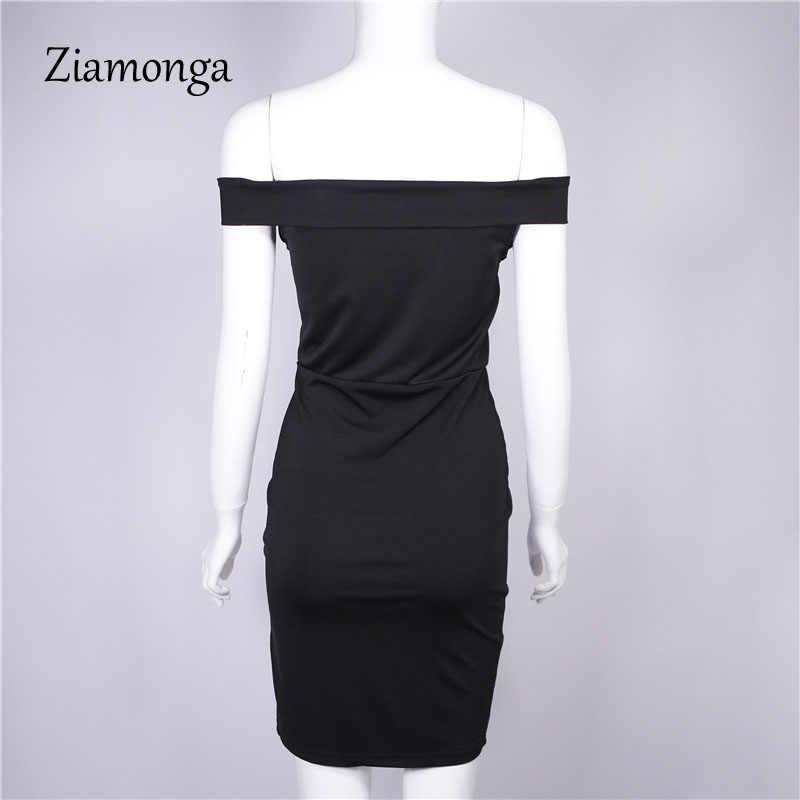 Zionga женское осеннее платье 2017 зимнее черное красное с открытыми плечами платье-туника для вечеринки сексуальное платье Femme облегающее Бандажное платье