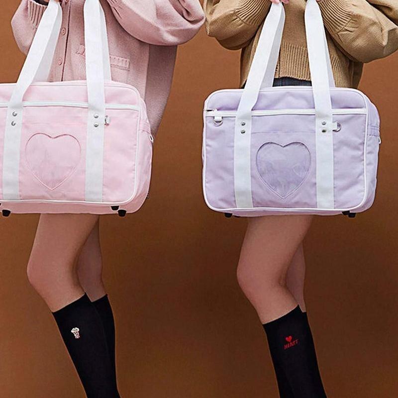 New Japanese Student Bags Uniform Shoulder Bag Cartoon Heart Window School Shoulder Bag Girl Sweet Cosplayer Handbag