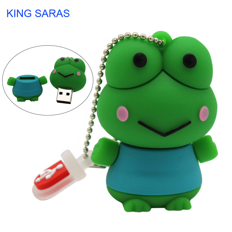 KING SARAS  Cartoon Cute Frog Model Usb2.0 4GB 8GB 16GB 32GB 64GB Pen Drive USB Flash Drive Creative Pendrive
