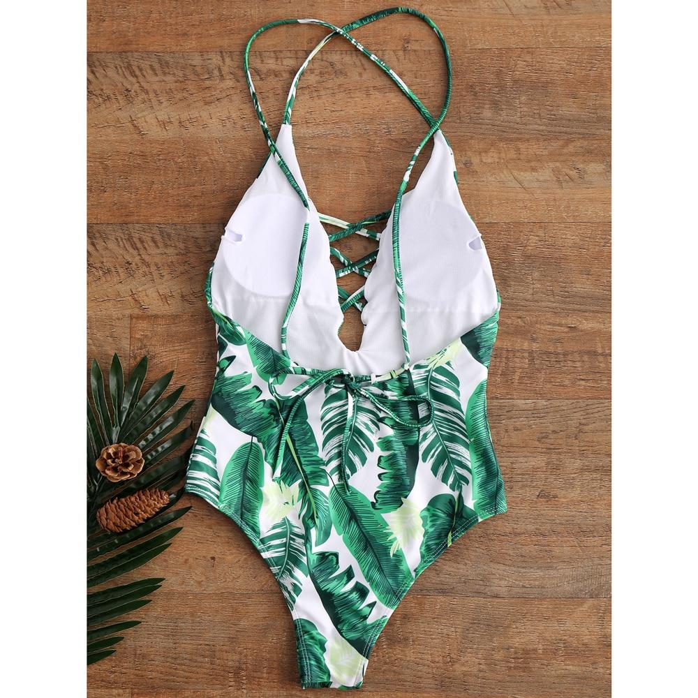 ZAFUL 2017 Sexy Leaf Print Swimwear Women One Piece Swimsuit Hollow Out Bathing Suit Swimwear Beach Bandage Backless Monokini