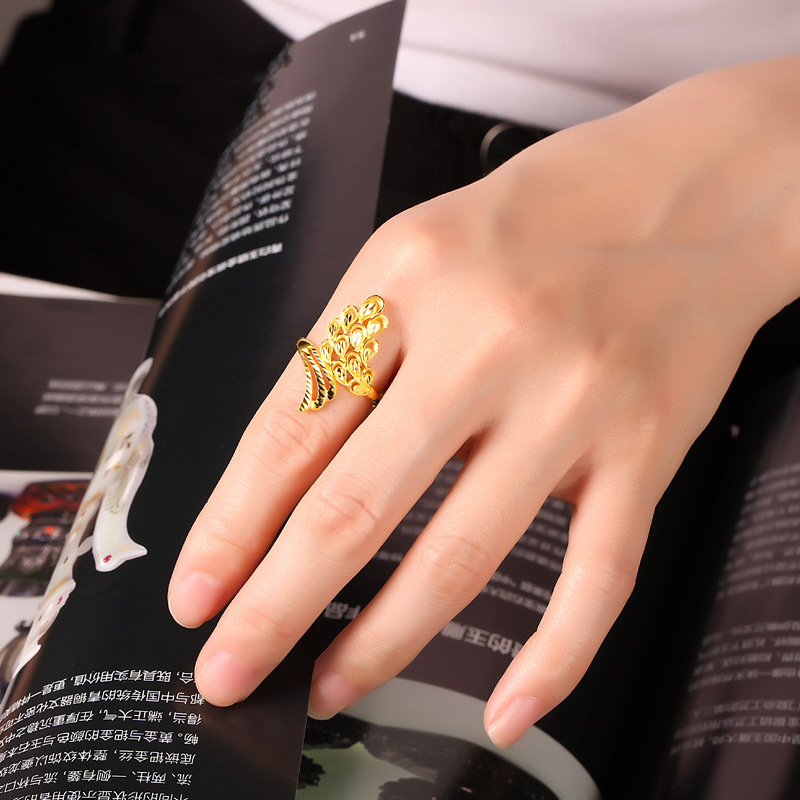 OMHXZJ Wholesale European Fashion Woman Man Party Wedding Gift Wing Gold 18KT Yellow Gold Resizable Ring RR765 in Rings from Jewelry Accessories