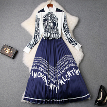 office work clothing set 2019 new High Quality spring printing Letter shirt Bow Womens Sets casual Full sleeved Half skirt suit