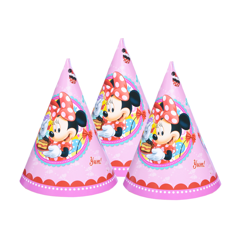 6pcs/lot paper hat Minnie Mouse Kids Birthday party supply event party supplies party Decoration Set