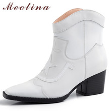 Meotina Autumn Western Boots Women Natural Genuine Leather Block High Heel Ankle Boots Square Toe Shoes Ladies Winter Size 34-39 цена 2017