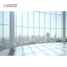 Laeacco Photo Backgrounds View House French Window City Building Shiny Sunshine Interior Backdrops Photocall Studio
