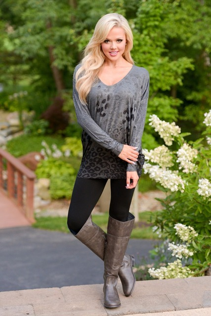 In Season Leopard Tunic Top - Charcoal Closet Candy Boutique
