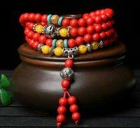 Groothandel Hoge Kwaliteit TaiWan Rode Cinnaber 4 Cirkel Armband Lucky Hand bovenleiding Vintage Mode-sieraden snaren